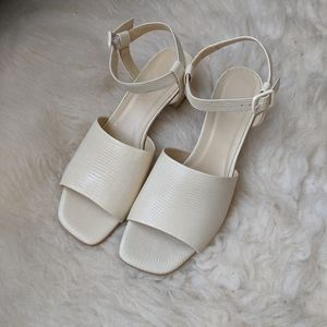 Off White Ankle Strap Sandals